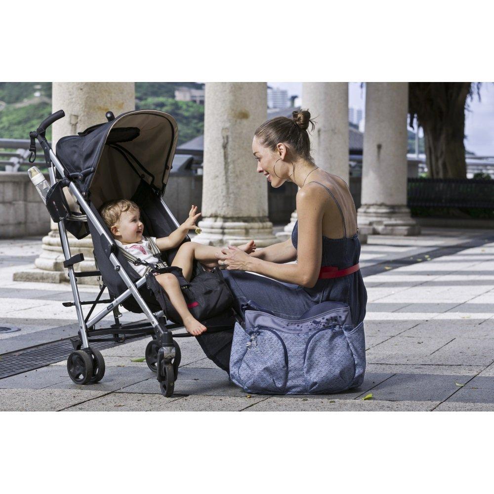 Okiedog Mondo Messenger Diaper Bag Blue Baby Sumo Dahoma Beige