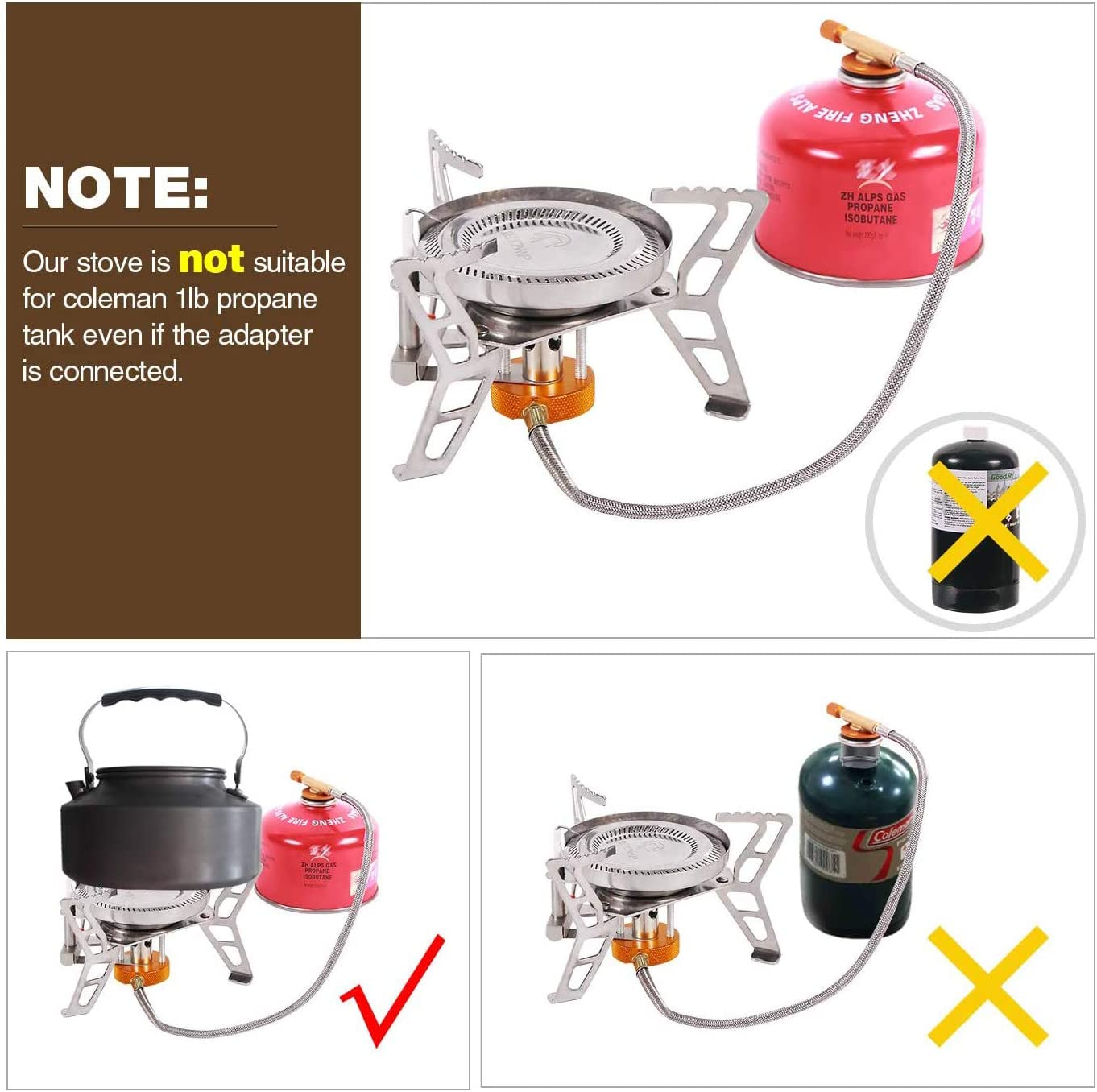 REDCAMP 3500W/4600W Estufa de gas a prueba de viento con encendido piezoeléctrico portátil, estufa de campamento para mochilero, senderismo, barbacoa, ...