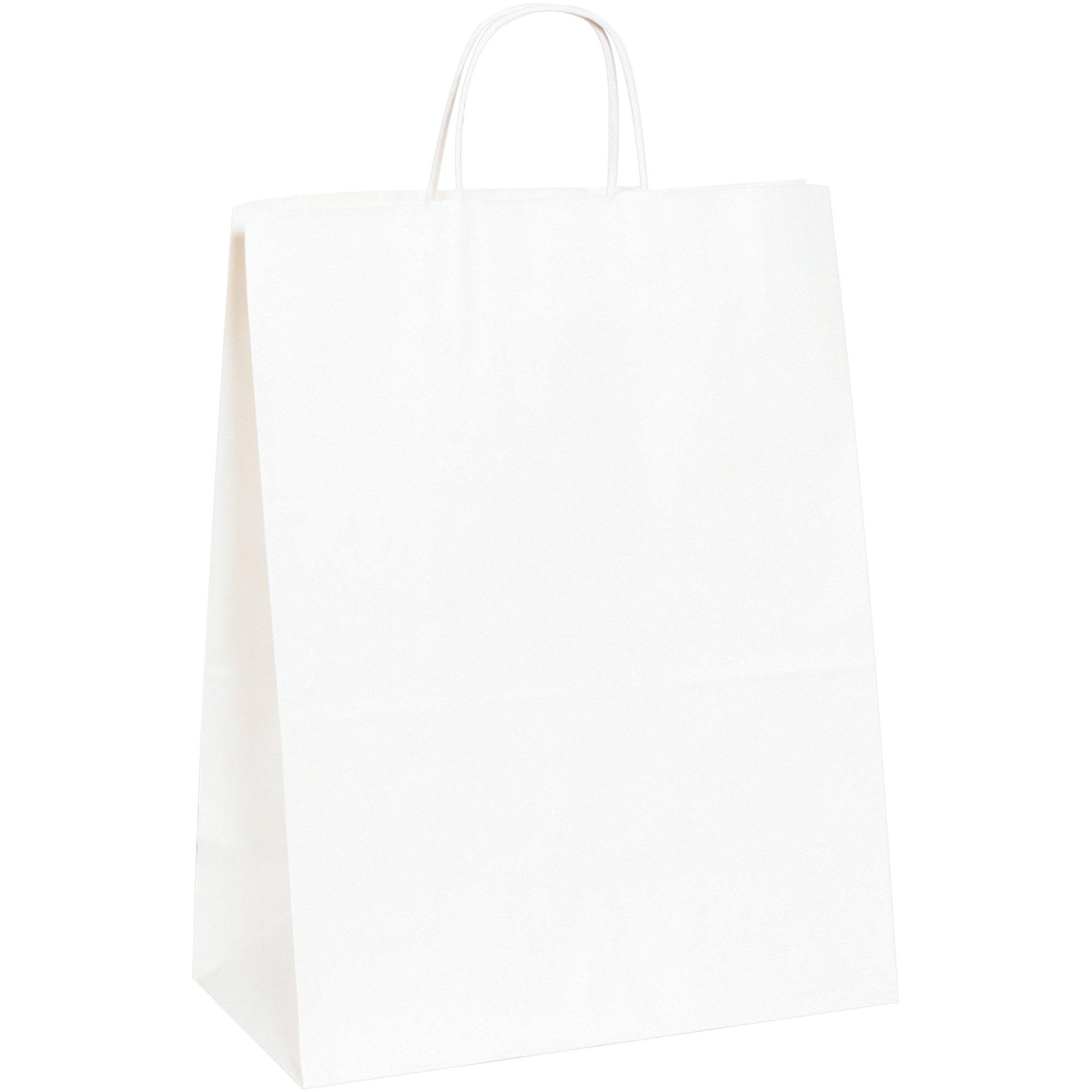 Paper Shopping Bags, 13'' x 7'' x 17'', White, 250/Case
