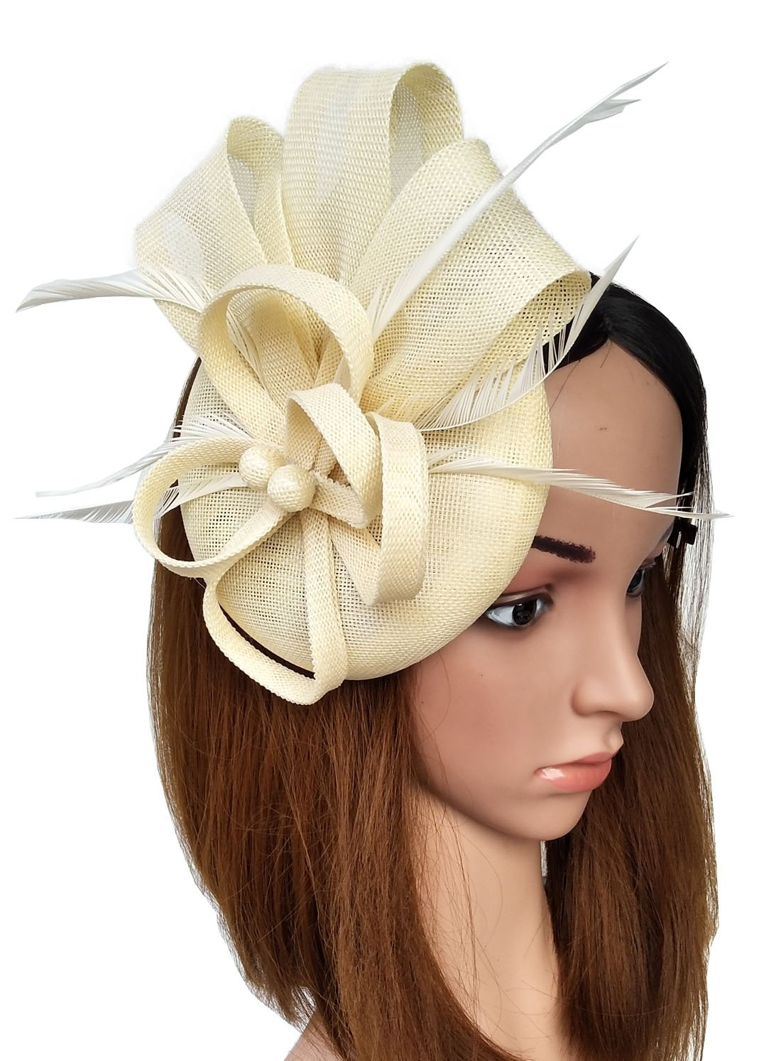 Coolwife Fascinators Sinamay Hat Womens Feather Pillbox Derby Tea Party Hat (Beige)