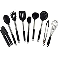 Cooking Utensils Set by IQUONA - Stainless Steel and Silicone Kitchen Utensil Set - Black Tools and Gadgets - Heat Resistant Spoons - Nonstick Spatulas Set Works with Ceramic and Metal Cookware