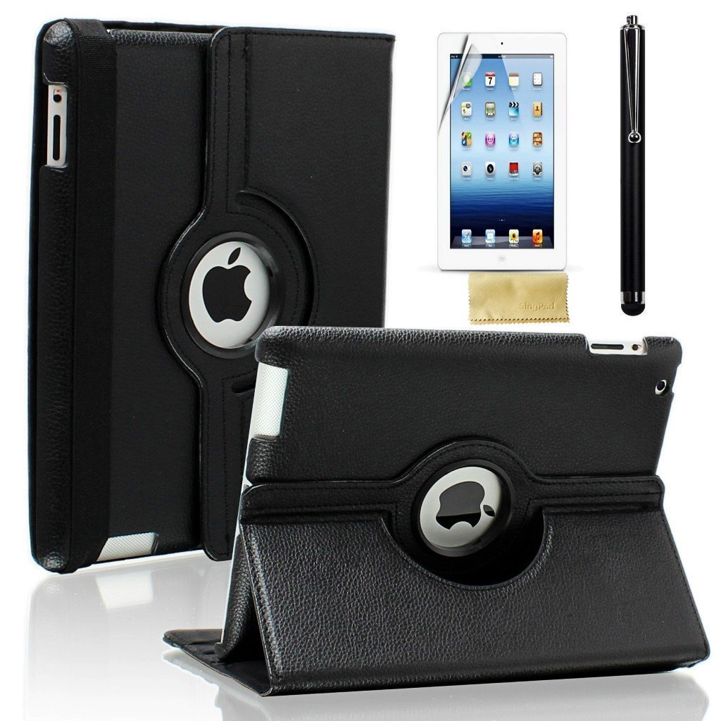 Ctech 360 Degrees Rotating Stand Black Embossed Flower Degree Leather Case For Ipad 2 3 4 Luxury Apple With Smart Cover Wake Sleep Function Computers