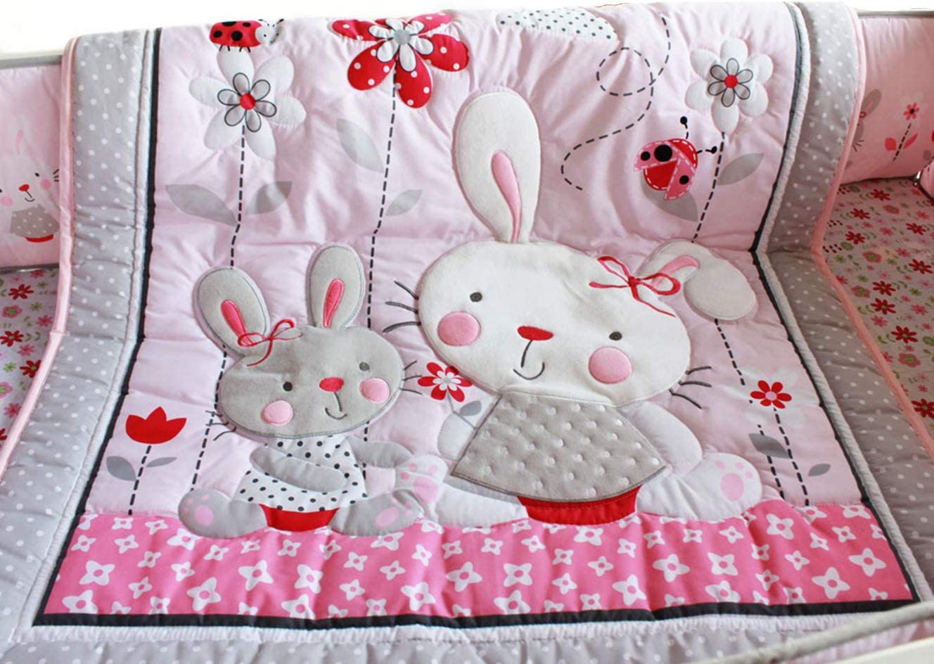 USTIDE Cot Bedding Set for Girls,Pink Owl Floral Patterned,Baby Nursery Bedding with Bumpers 100/% Breathable Cotton