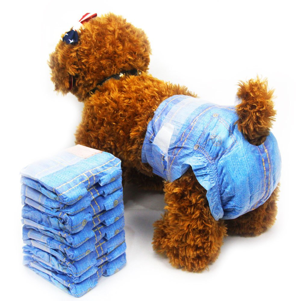 Amazon.com : Pet disposable dog diaper Jeans style puppy female diapers (3 pack, 24pcs) (XS) Supplies