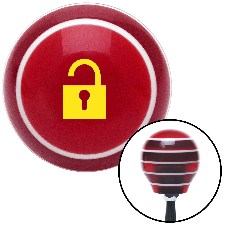 Yellow Unlocked Lock American Shifter 119538 Red Stripe Shift Knob with M16 x 1.5 Insert