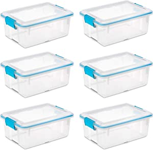 Sterilite 1942 Compact 12 Quart Plastic Storage Bin Container with Clear Gasket Sealed Box (6 Pack)