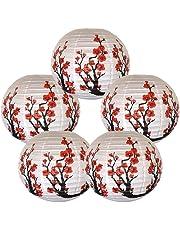 Cxjcoss [Paquete de 5] Linternas de papel chinas decorativas redondas, YT9870-R453 Sakura rojo (cereza) flores de color blanco chino/japonés farol de papel/lámpara -16 pulgadas