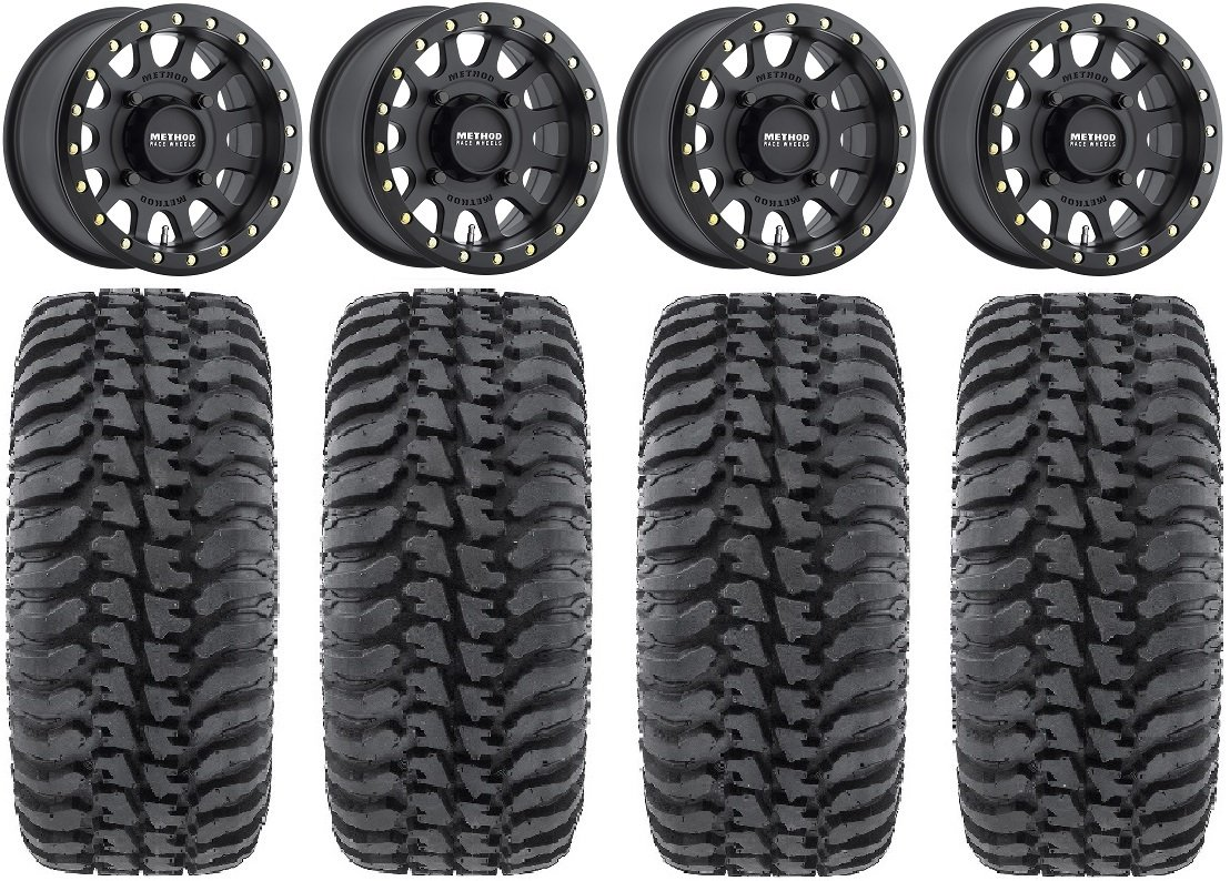 Bundle - 9 Items: Method 401 14'' Beadlock Black (4+3) Wheels 30'' Regulator Tires [4x156 Bolt Pattern 12mmx1.5 Lug Kit]