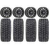 "Bundle - 9 Items: Method 401 14"" Beadlock Black (4+3) Wheels 30"" Regulator Tires [4x156 Bolt Pattern 12mmx1.5 Lug Kit]"