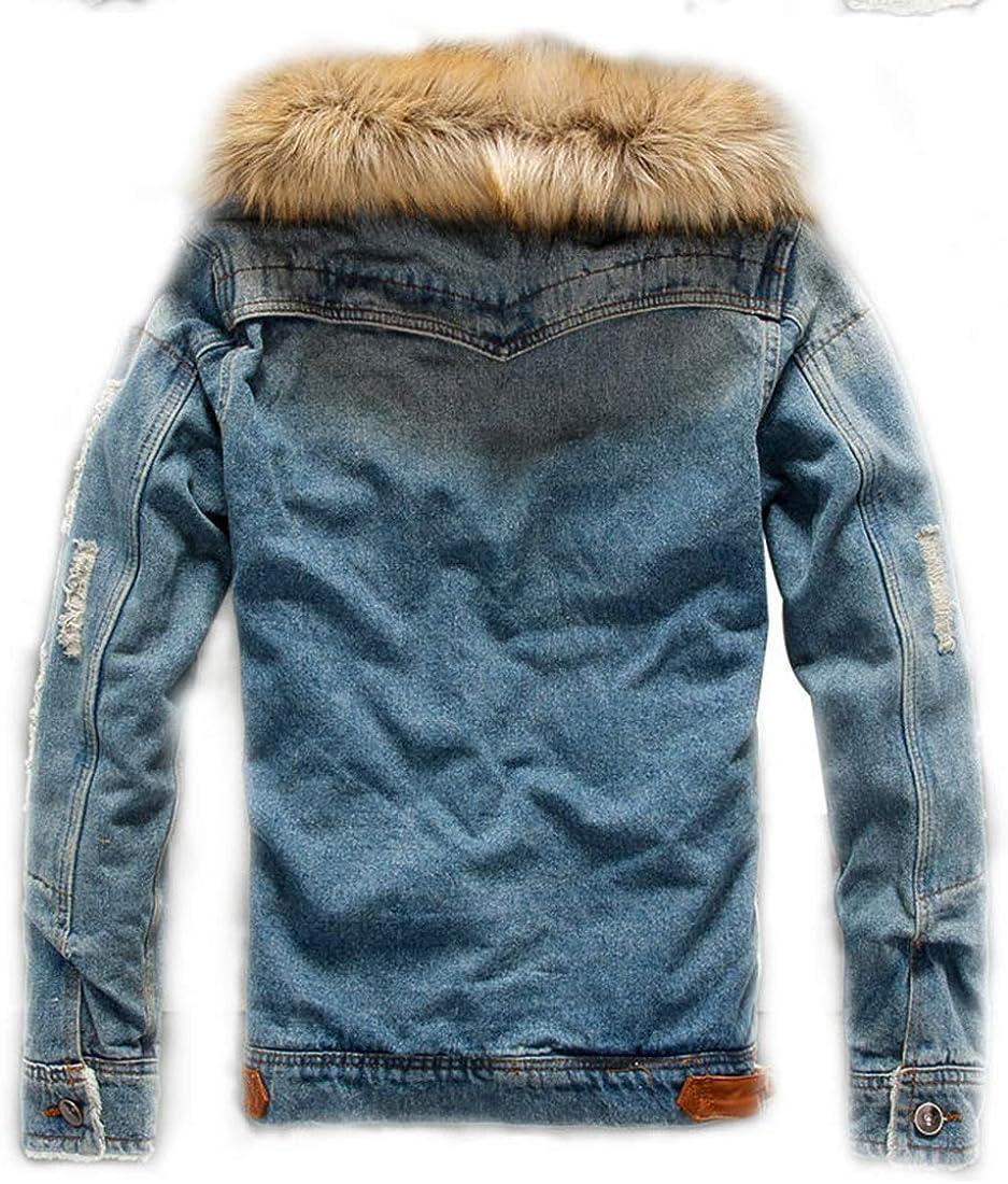 AMEBELLE Mens Faux Fur Collar Ripped Denim Trucker Jackets Fleece Jean Outwear Coat