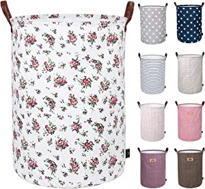 DOKEHOM 22-Inches Thickened X-Large Laundry Basket -(9 Colors)- with Durable Leather Handle, Drawstring Waterproof Round Cotton Linen Collapsible Storage Basket (Roses, XL)