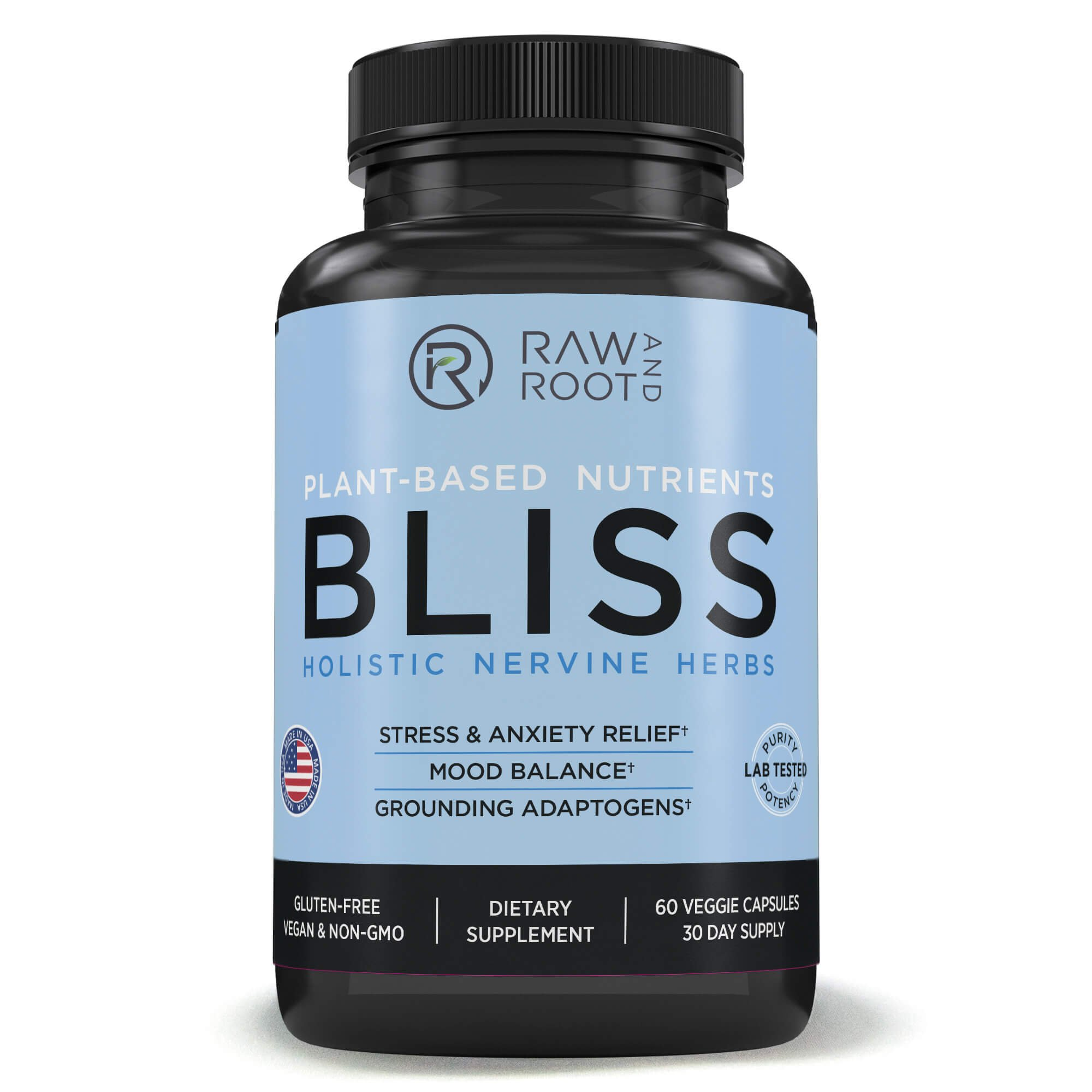 Bliss (Holistic Nervine Herbs) - Adaptogens Ashwagandha, Reishi, St. John's Wort and Other Herbs for Anxiety Relief, Stress Relief, Adrenal Support - Dietary Supplement - 60 Vegetarian Capsules