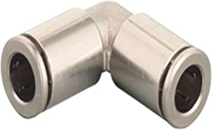 Utah Pneumatic 1/4 Push to Connect Fittings Nickel-Plated Brass Elbow Air Fittings Push Connect Air Tube Connectors Push Lock Fittings for Air Tubing (2 Brass Elbow in Pack)