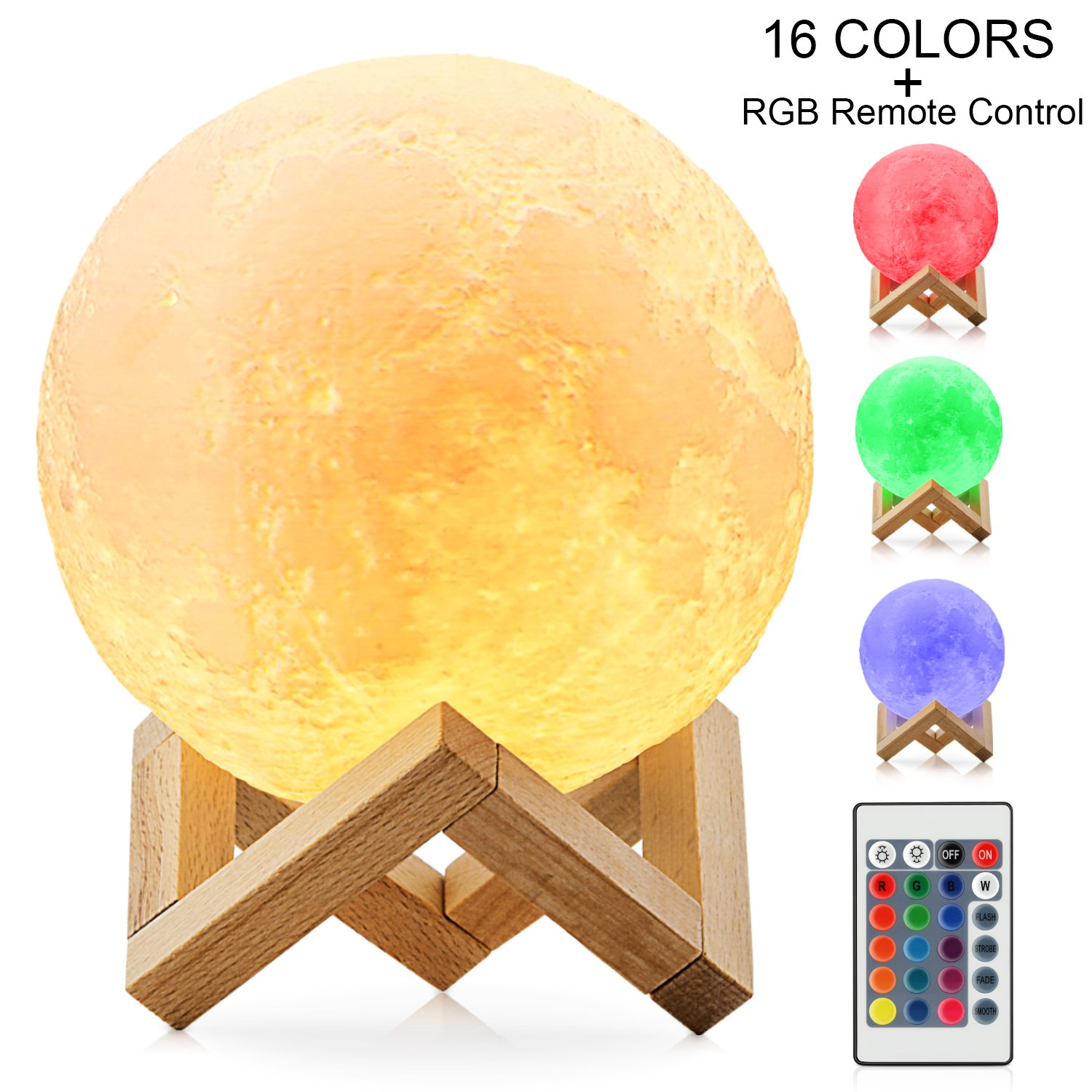 Moon Lamp, Magicfly 16 Colors RGB Moon Light with Remote & Touch Control, 3D Printing LED Night Light, Adjustable Brightness USB Rechargeable Lunar Light for Creative Gift, (5.9 inch)