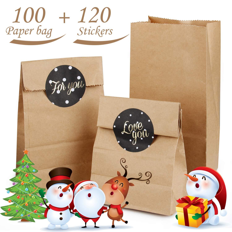 Sacchetti di Carta con Fondo, AODOOR 100 pcs Sacchetti di Carta Kraft Marrone con 120 Adesivi Utilizzato In Feste per sacchetti regalo, Calendario dell' Avvento, regali pugilato Calendario dell' Avvento