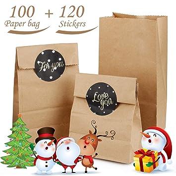 100 Bolsas de Papel Kraft Marrón | Bolsa para regalos Con 120 Redondas Pegatinas, DIY Mini Bolsa para Regalos Ideal para bolsas de regalo, bolsas de ...