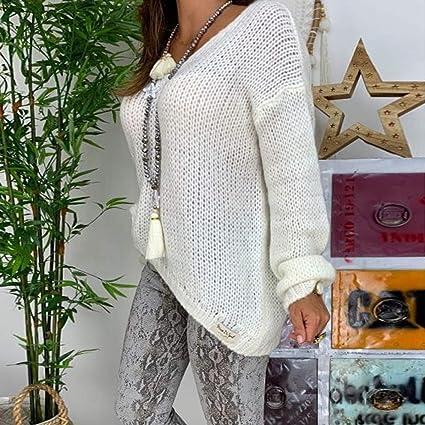 WINLISTING Mujer Gran tamaño Suéter Elegante Cuello en V Jerséy ...