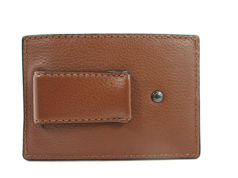 a2b6e311 Coach Mens Money Clip Credit Card Case Leather Dark Saddle F75459 ...