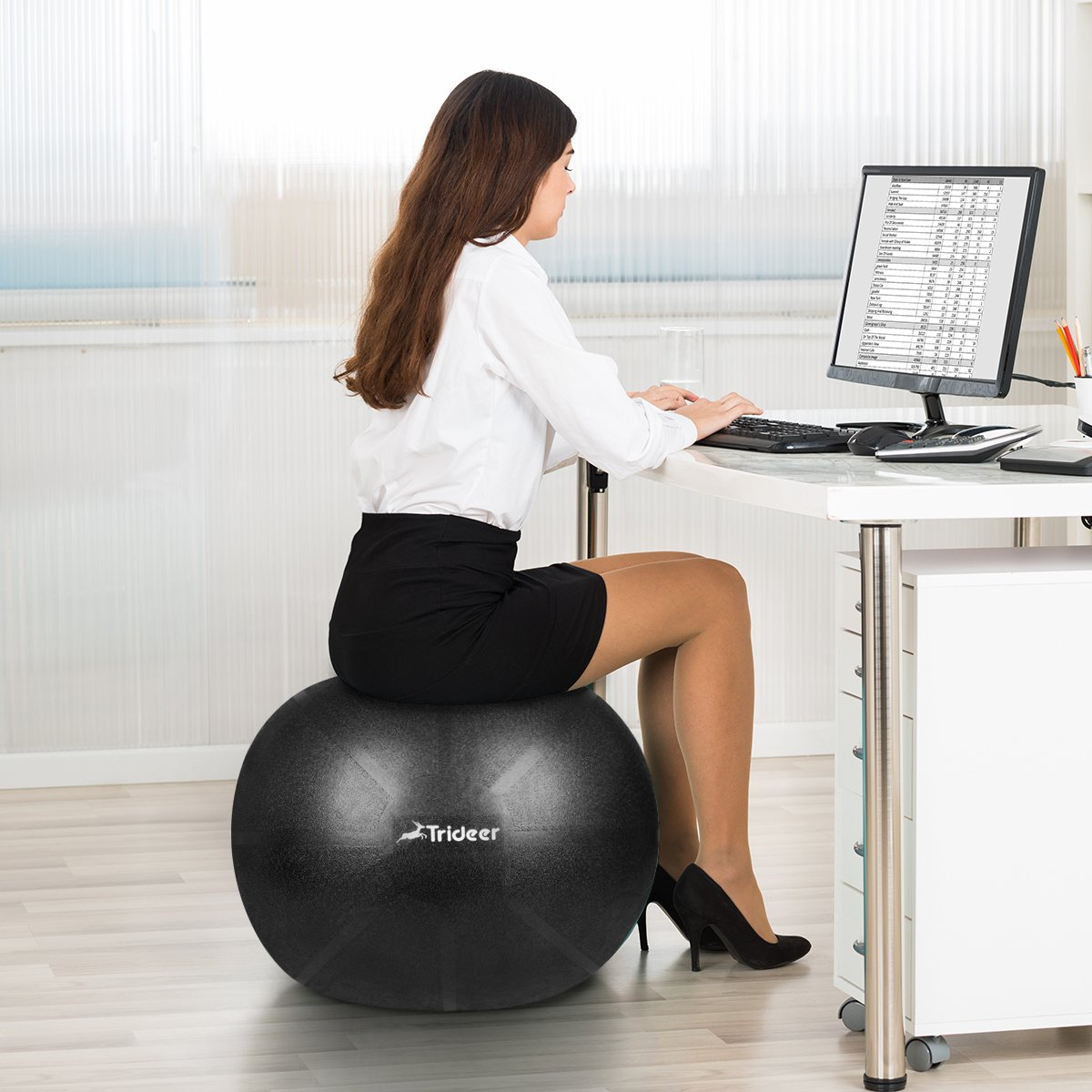 Trideer Exercise Ball (Multiple Color), Yoga Ball, Birthing Ball with Quick Pump, Anti-Burst & Extra Thick, Heavy Duty Ball Chair, Stability Ball Supports 2200lbs by Trideer (Image #9)