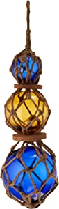 Hampton Nautical 3xglass-101 Amber-Blue Japanese Ball Fishing Floats with Brown Netting Decoration 11