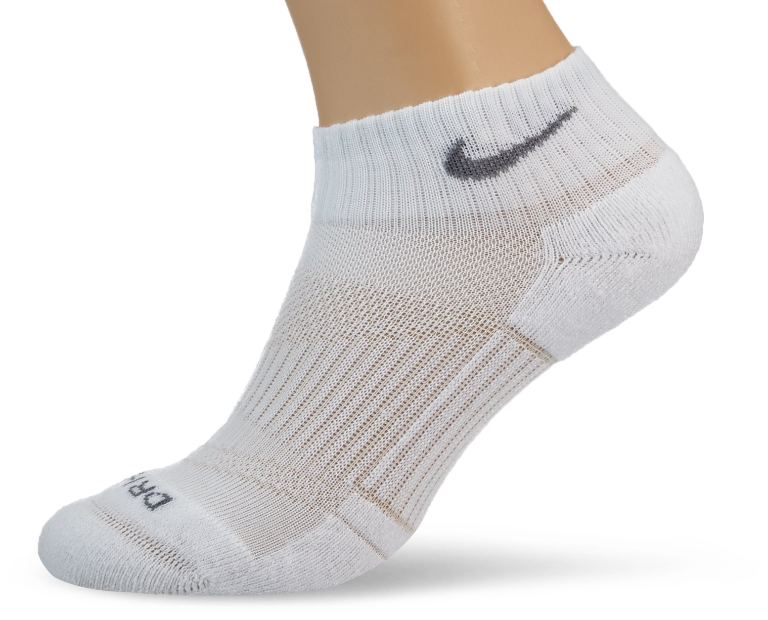 Nike Dri-FIT Half Cushion Quarter - 3 Pair (White, Small)