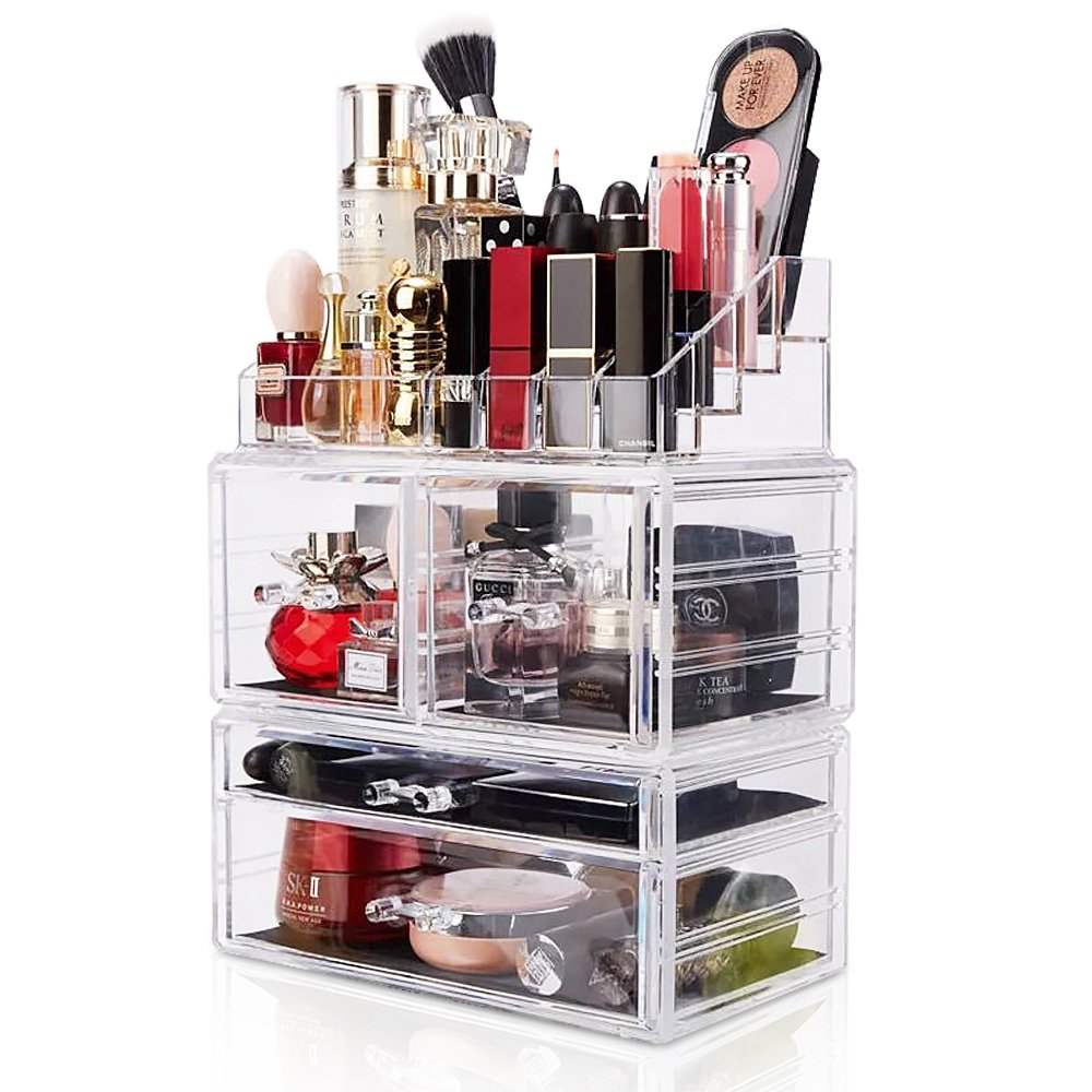 DreamGenius Makeup Organizer 3 Pieces Acrylic Cosmetic Storage Drawers and Jewelry Display Box