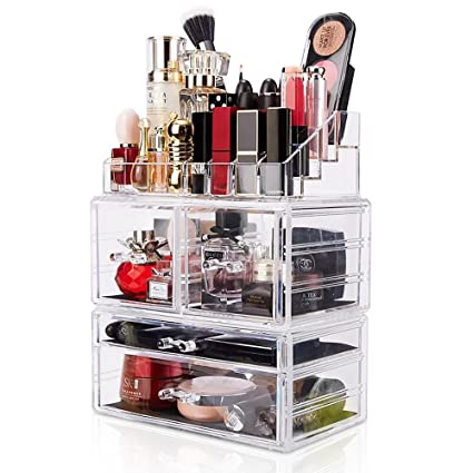 Etonnant DreamGenius Makeup Organizer 3 Pieces Acrylic Cosmetic Storage Drawers And  Jewelry Display Box