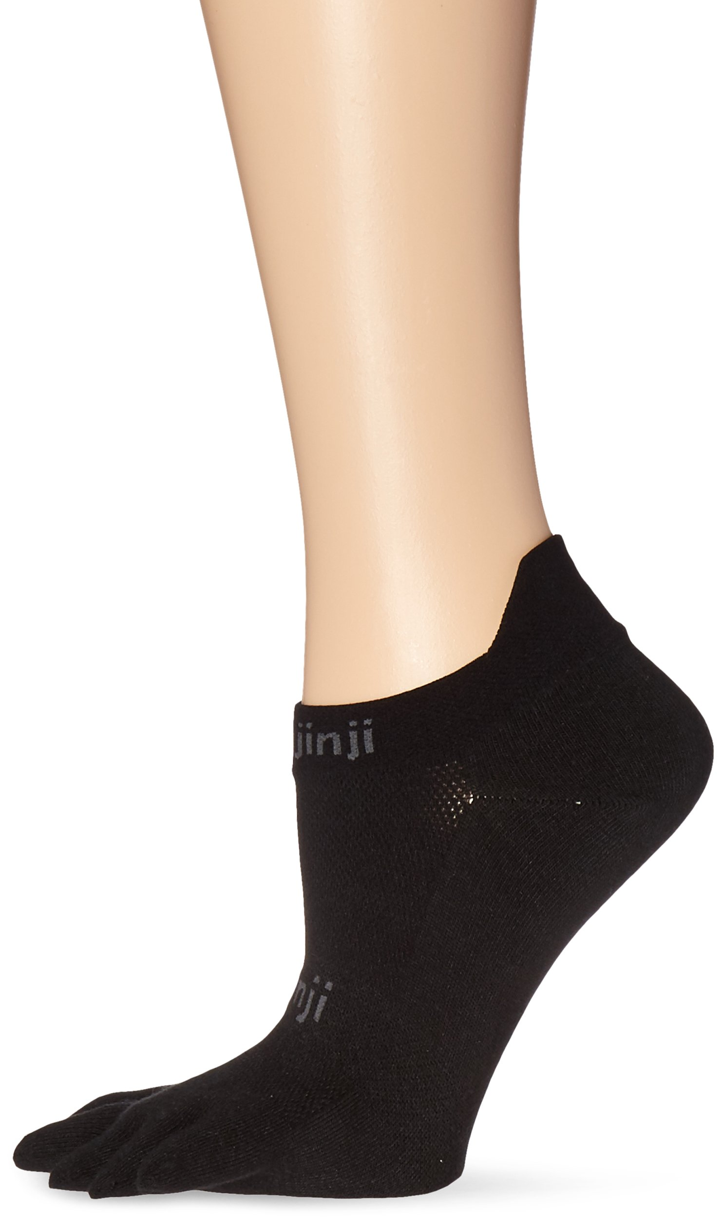 Injinji Run 2.0 Lightweight No Show Toe Socks 3 Pack (Black, Medium) by Injinji