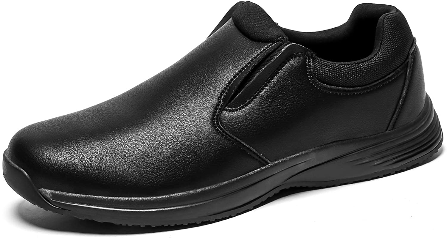 Mens Slip Resistant Work Shoes Food Service Shoe Non Slip Black Professional Chef Shoes