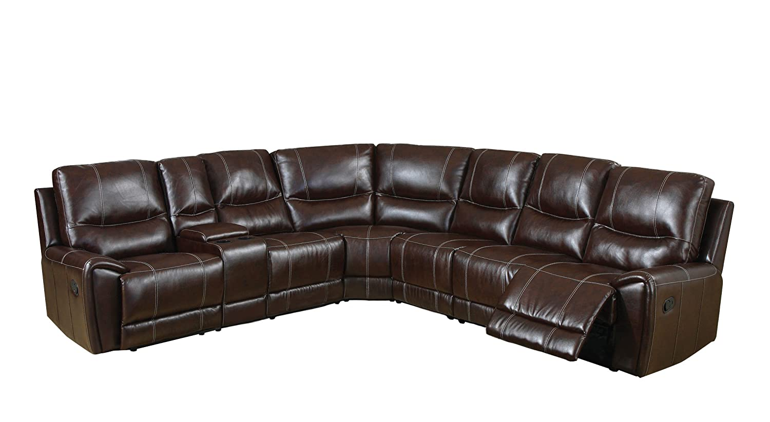 amazoncom furniture of america reeden bonded leather match sectional sofa with 3 recliners brown kitchen u0026 dining - Sectional Leather Sofas