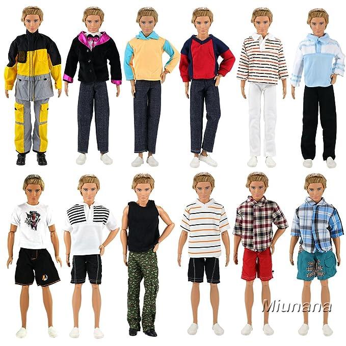 Amazon.es: Miunana 5 Fashionista Trajes de Ropas Casual Abrigo Chaqueta Pantalones con Manga Larga y Corto para Ken Muñeco Novio Príncipe Barbie Doll ...