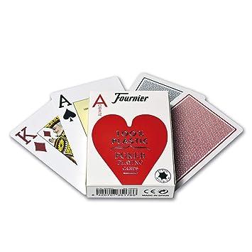 Fournier- Nº 2800 100% Plástico Baraja de Poker Profesional Calidad Casino, Color Rojo/Azul (35178)