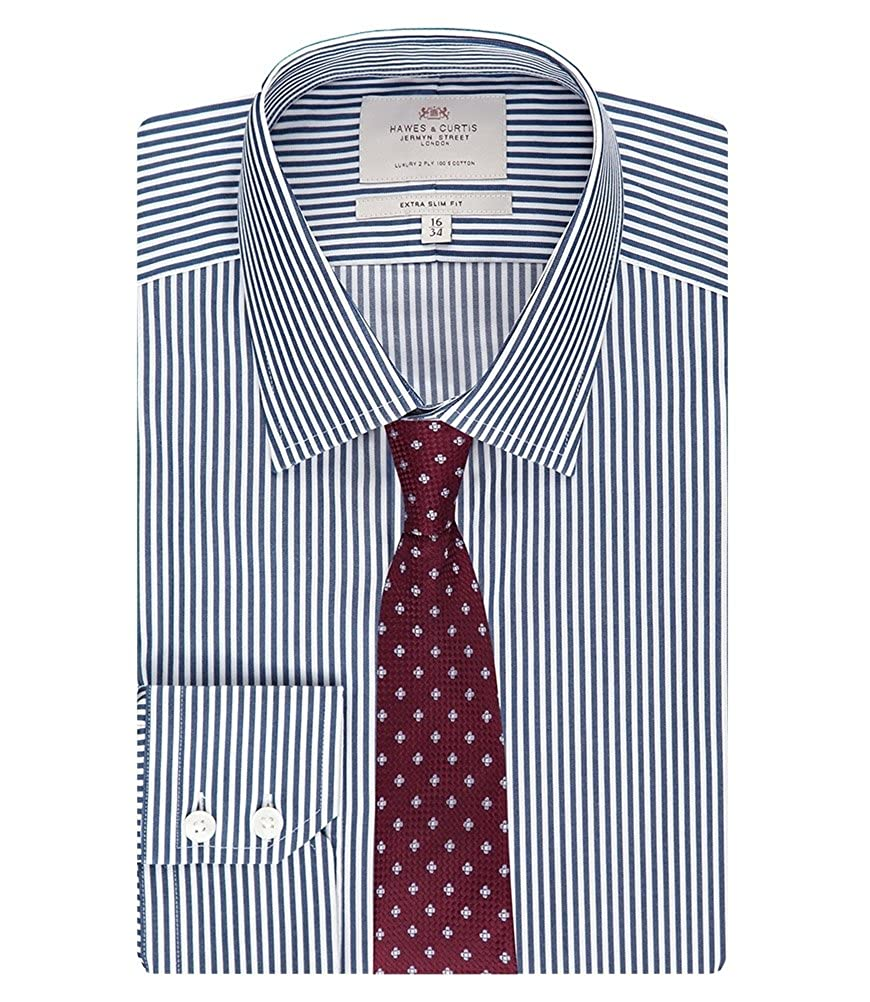 44e1024ee9 HAWES & CURTIS Mens Formal Navy & White Bengal Stripe Extra Slim Fit Easy  Iron Single Cuff Long Sleeve Shirt, Navy/White, 15.5