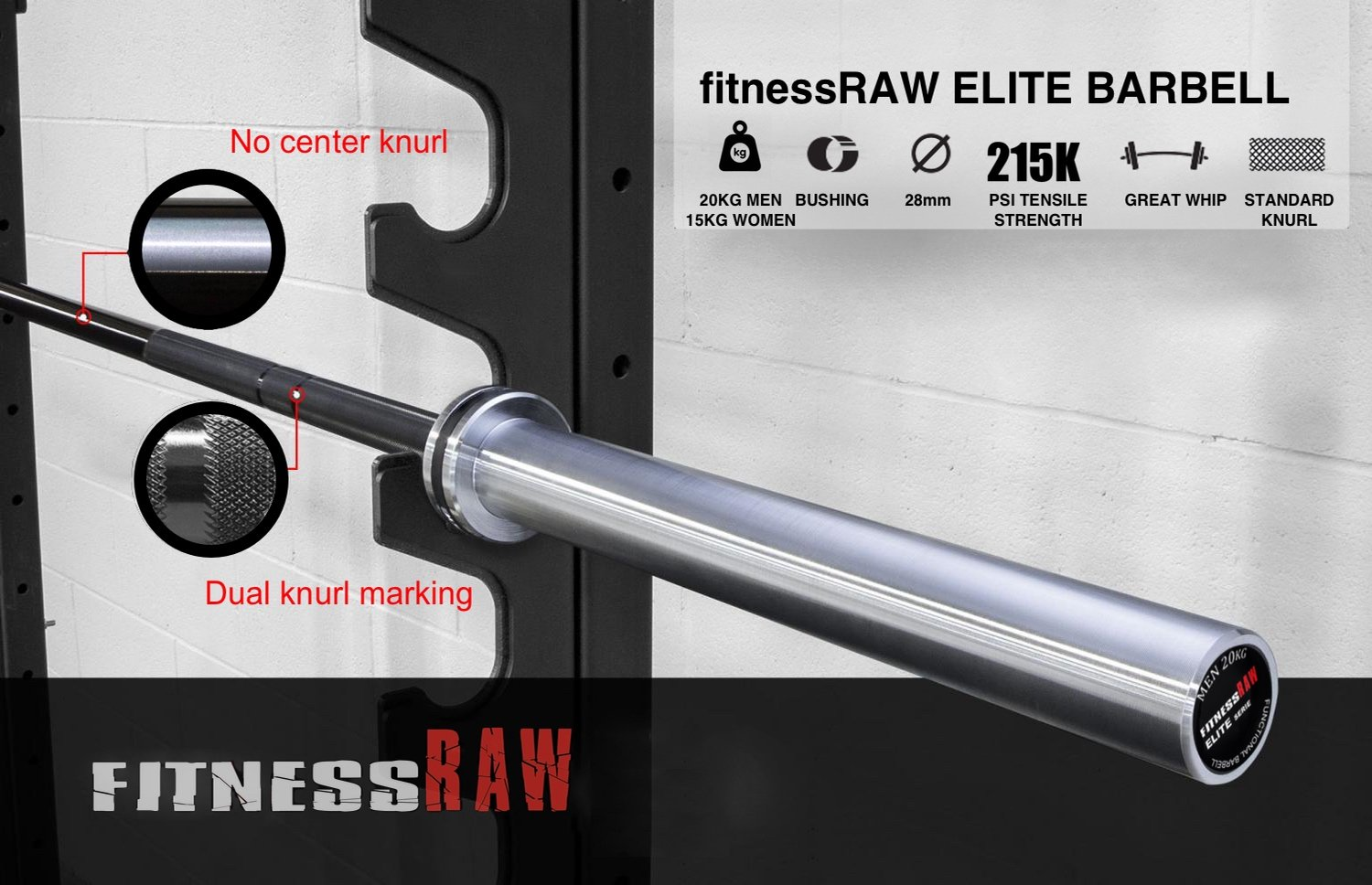 FitnessRAW Elite Olympic Barbell for Crossfit, wheightlifting and benchpress. 20kg, Men
