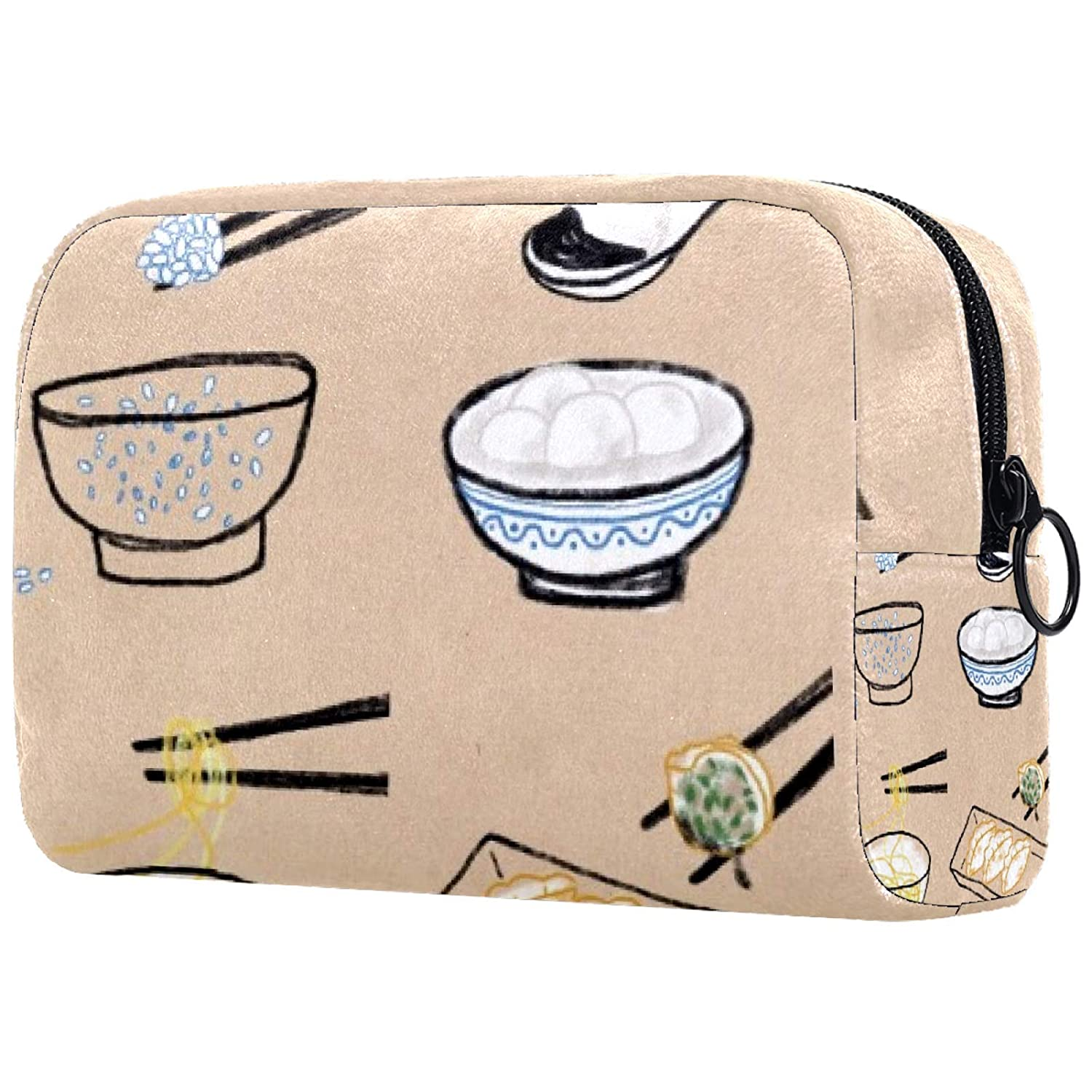 Cosmetic Bag for Women, Adorable Roomy Makeup Bags Travel Waterproof Toiletry Bag Chinese foods pattern