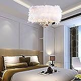 Zeitgenössische üppigen White Feather-Kronleuchter mit 3 Lampen Crystal Drop ausgewählte Anhänger Lampe für das Wohnzimmer-Esszimmer-Schlafzimmer