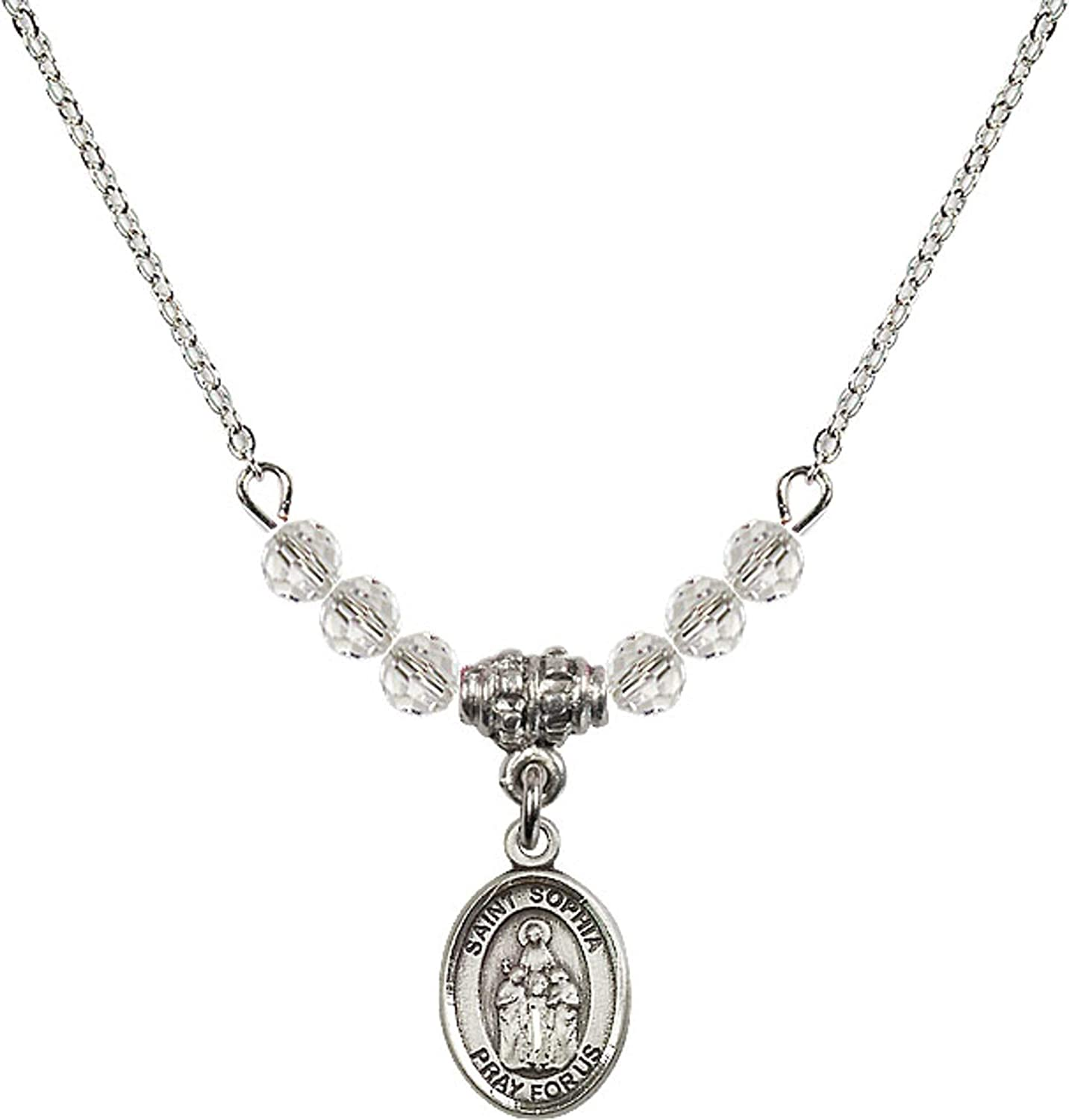 Bonyak Jewelry 18 Inch Rhodium Plated Necklace w// 4mm White April Birth Month Stone Beads and Saint Sophia Charm