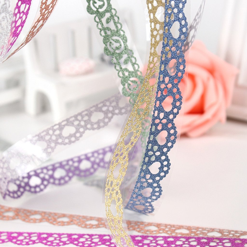 7 Rolls Multicolor Washi Lace Pattern Glitter Self-adhesive Tape Masking DIY Scrapbooking Decorating Stickers Goodlucky365 Goodlucky365763250853207