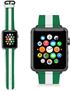 HelloGiftify Football Nigeria Flag Watch band Compatible with Apple Watch Band 38mm 40mm 42mm 44mm Genuine Leather Replacement Strap Wrist Band for iWatch series 5/4/3/2/1 Black Metal Clasp