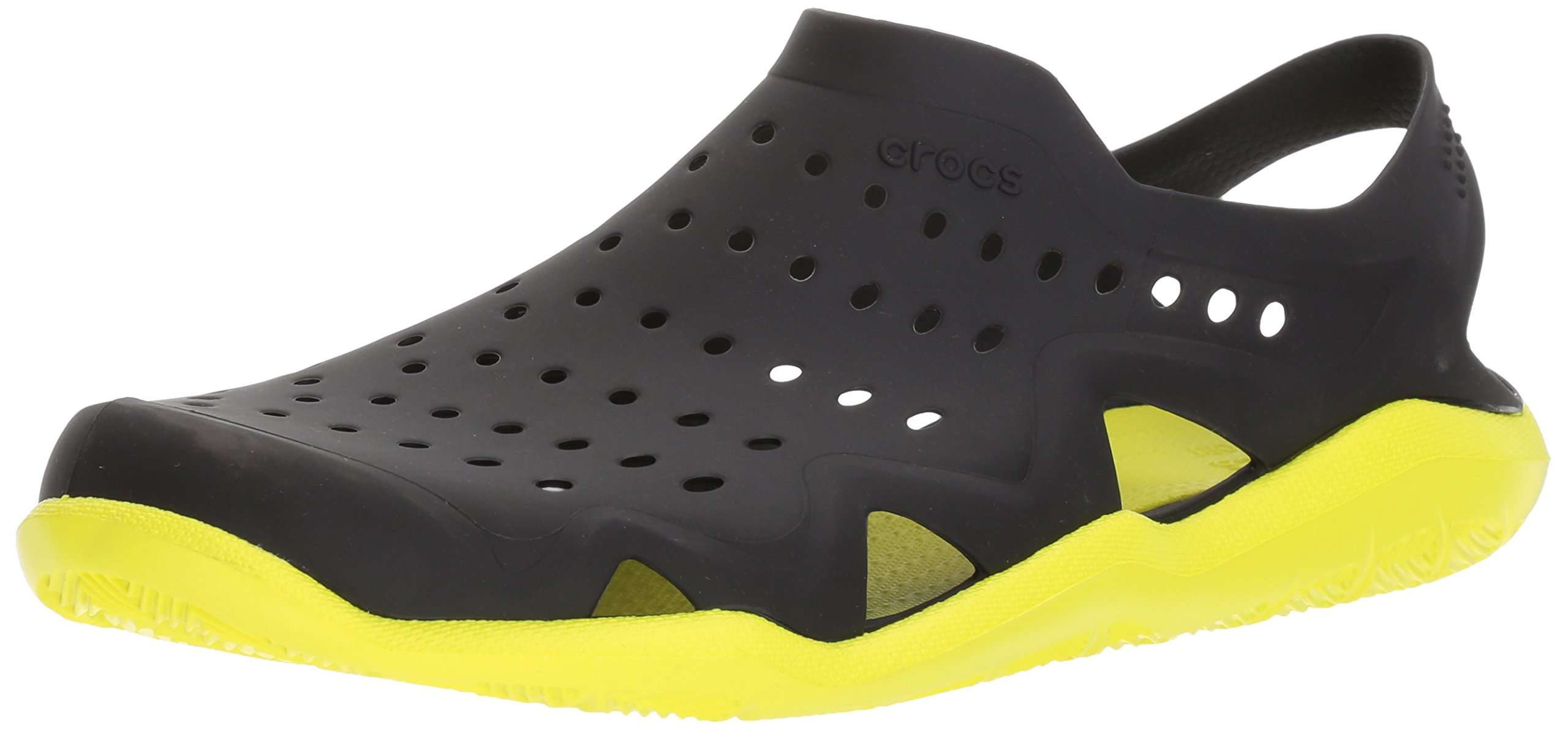 Crocs Men's Swiftwater Wave M Flat,Black/Tennis Ball Green,6 M US