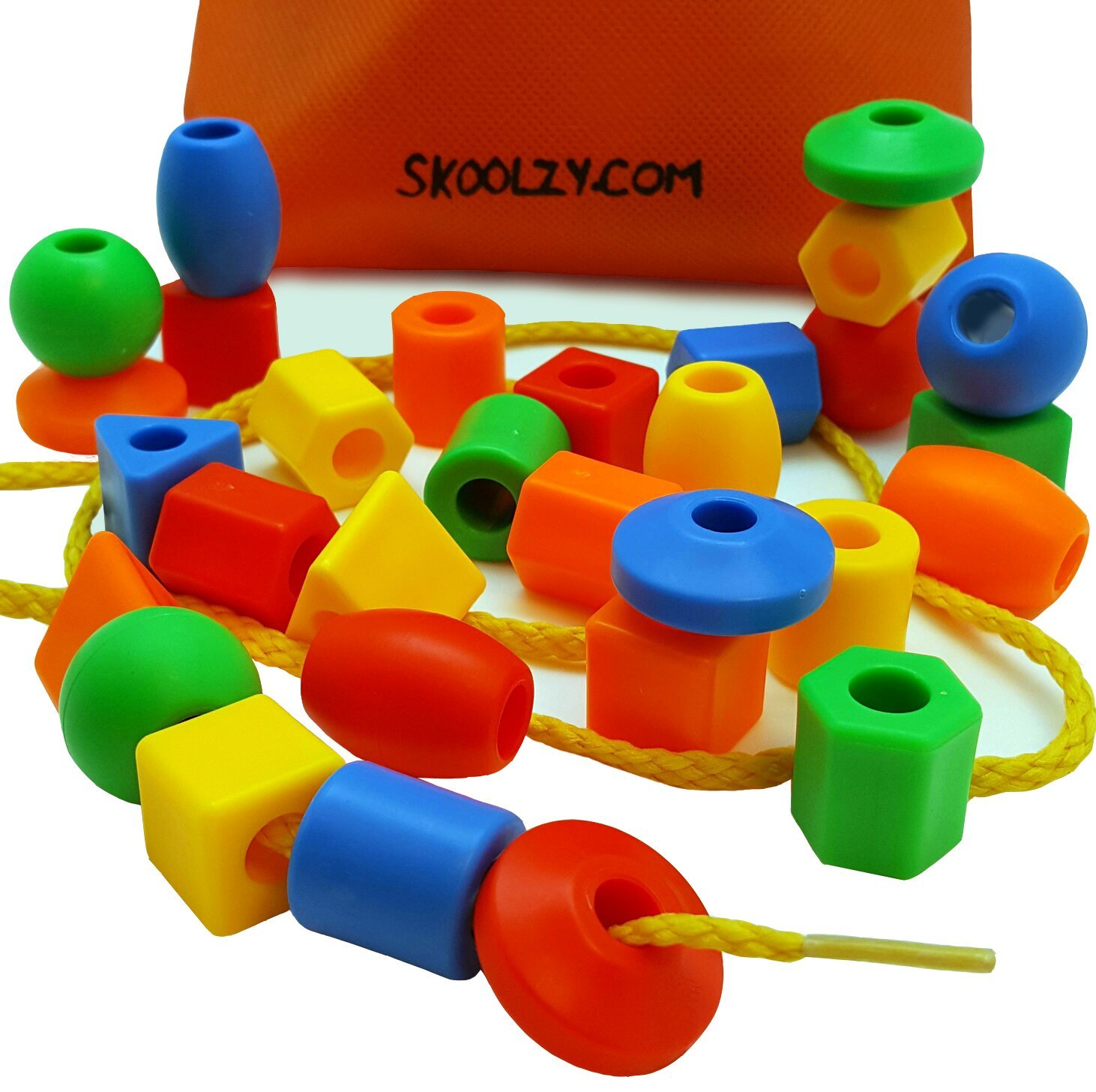 Buy 30 Jumbo Lacing Beads with String & Tote Montessori