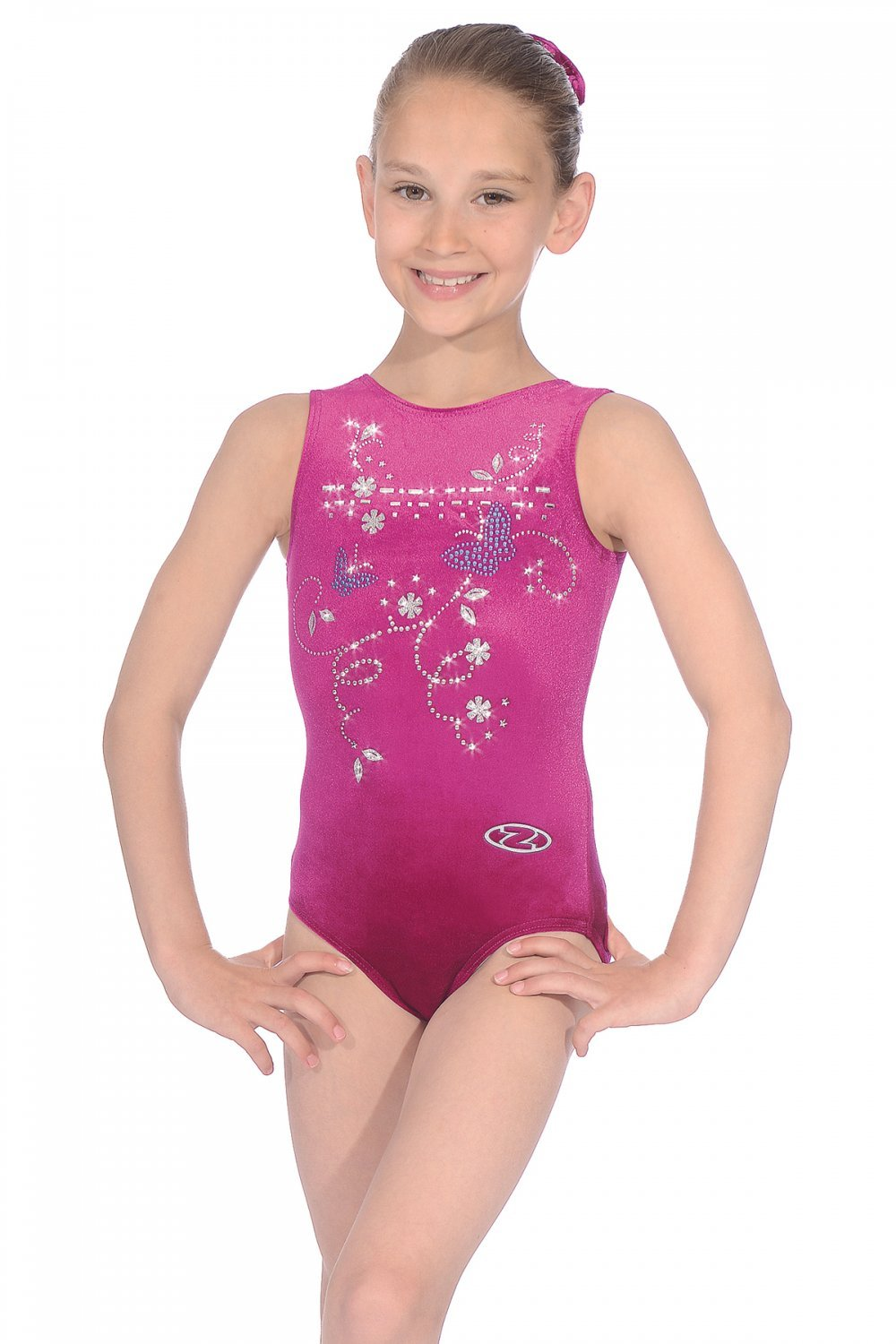 The Zone Panache Butterfly Motif Sleeveless Gymnastics Leotard