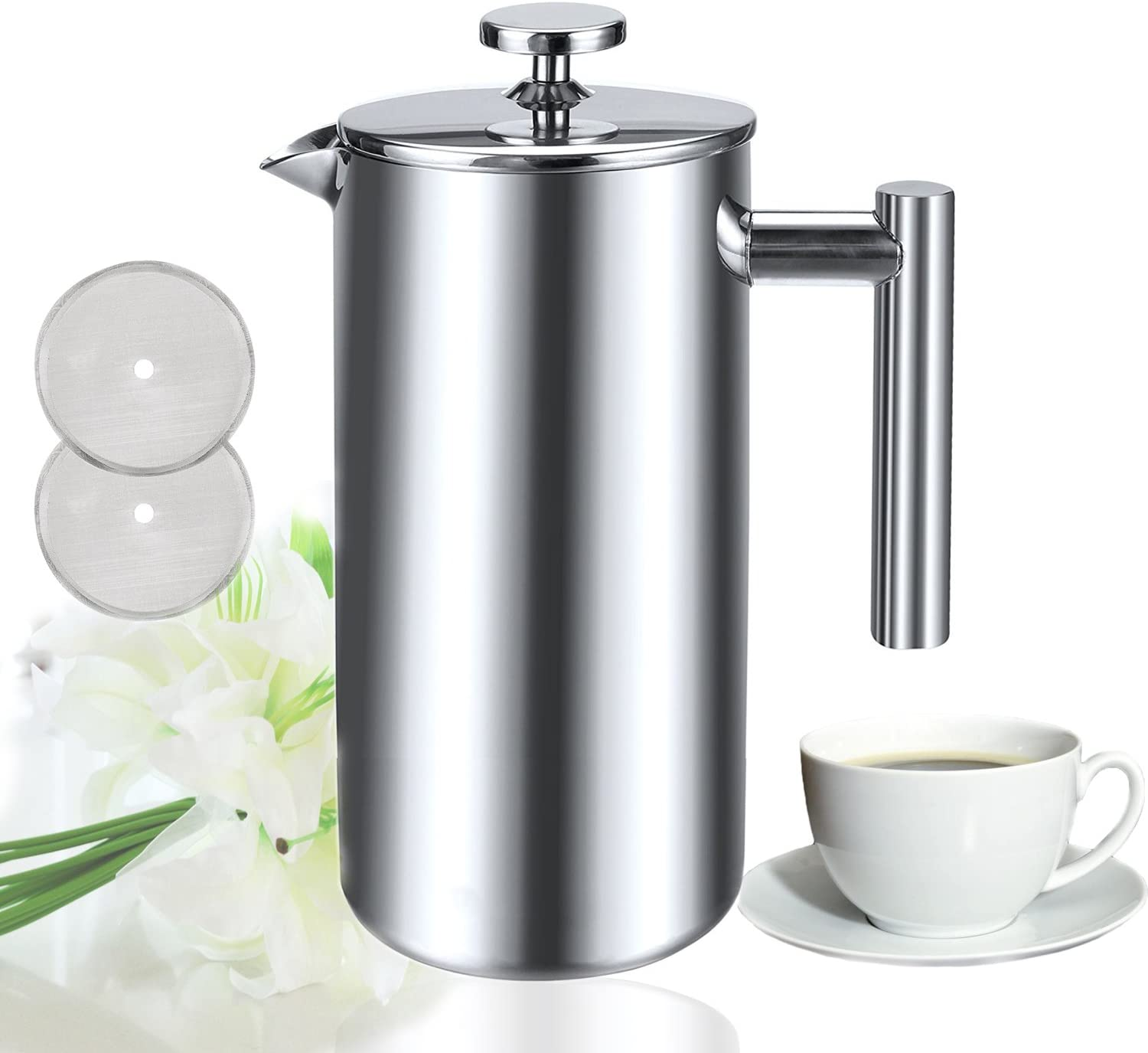 Sailnovo 8 Cups French Coffee Press Coffee Tea Maker Brewer Filter Pot Plunger, 34 Oz 1000ml Double Walled Insulated Stainless Steel Cafetiere with triple filter extraction