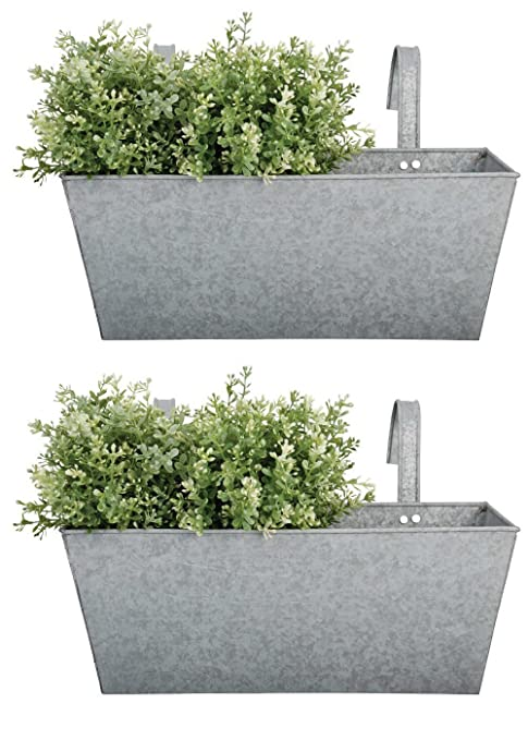 Set of 2 Zinc Balcony Hanging Garden Planters: Amazon.co.uk: Garden ...