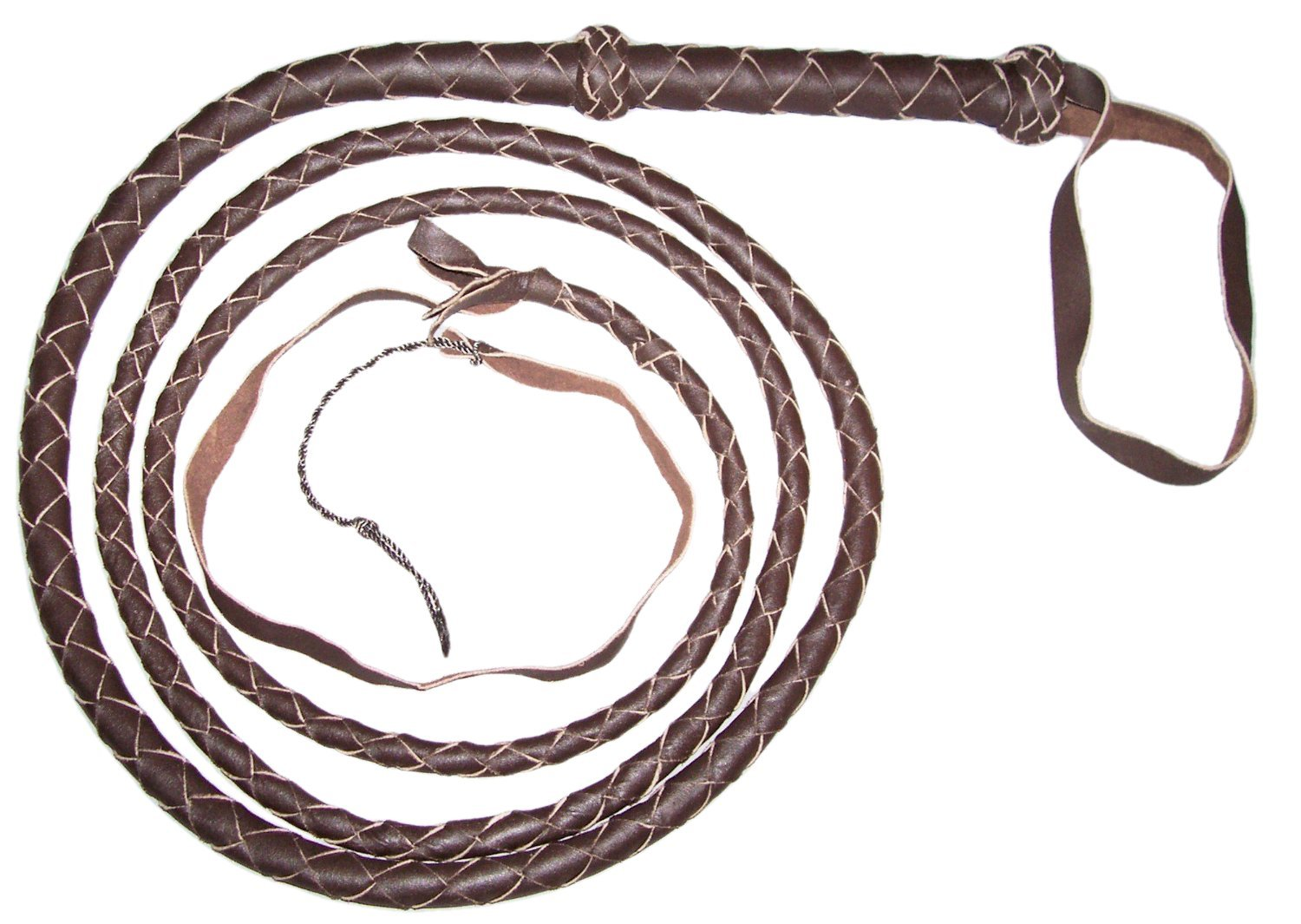 10 Foot 4 Plait DARK BROWN Real Leather BULLWHIP bull whips JZRJ
