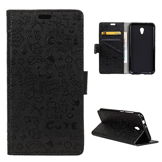 Vodafone Smart Turbo 7 Case, CaseFirst Cute Cartoon Pattern Full Body Protector Card Slots Flip