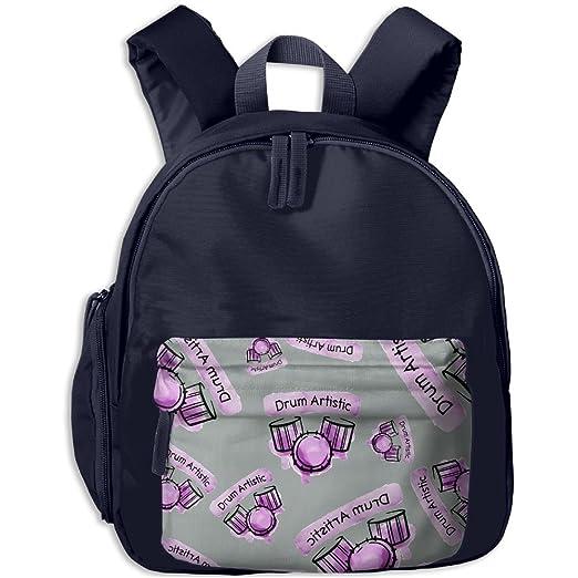 Drum Artistic Kids Boys Girls Backpack Floral Print Kindergarten Bag