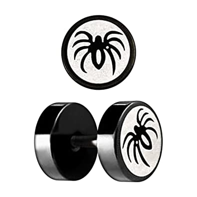 VOTREPIERCING Falso Dilatador Oreja Anodizado Negro Corte Laser Araña 1.2 x 6 x 8 mm: Amazon.es: Joyería