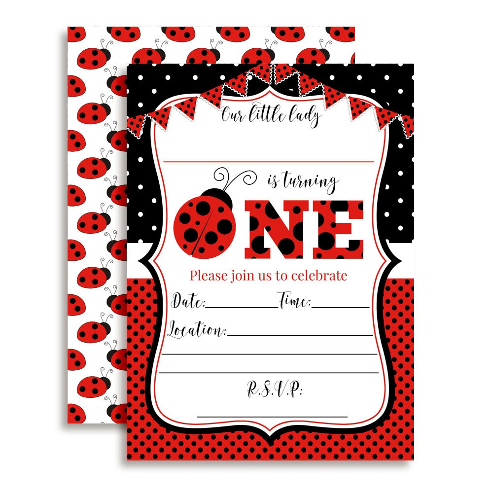 Red Ladybug First Birthday Party Invitations for Girls, 20 5''x7'' Fill in Cards with Twenty White Envelopes by AmandaCreation