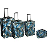Rockland Luggage Dots 4 Piece Luggage Set, Multiple Blue Dots, One Size